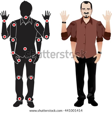 FOR ANIMATION. man character in black shirt, doll with separate joints. Gestures for animated work movement. Parts of body template for design work and animation. Body elements. Set - stock vector