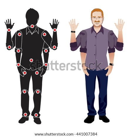 FOR ANIMATION. man character in lilac shirt, doll with separate joints. Gestures for animated work movement. Parts of body template for work and animation. Body elements. Set. Red head man with beard - stock vector