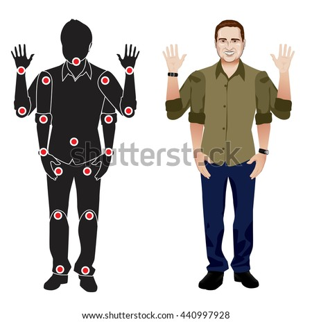 FOR ANIMATION. man character in mustard shirt, doll with separate joints. Gestures for animated work movement. Parts of body template for design work and animation. Body elements. Set - stock vector