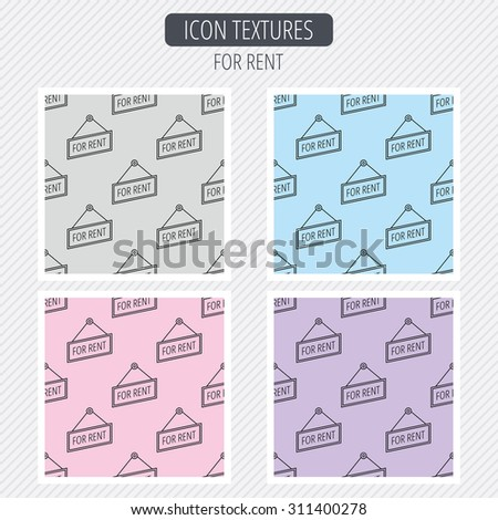 For rent icon. Advertising banner tag sign. Diagonal lines texture. Seamless patterns set. Vector - stock vector