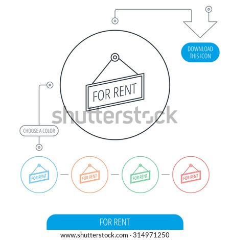 For rent icon. Advertising banner tag sign. Line circle buttons. Download arrow symbol. Vector - stock vector
