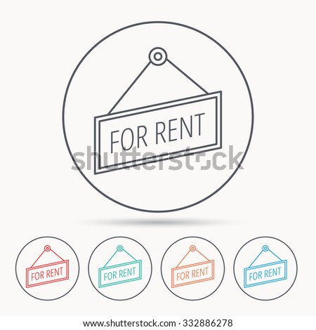 For rent icon. Advertising banner tag sign. Linear circle icons. - stock vector