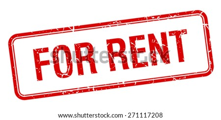 for rent red grungy vintage isolated stamp - stock vector