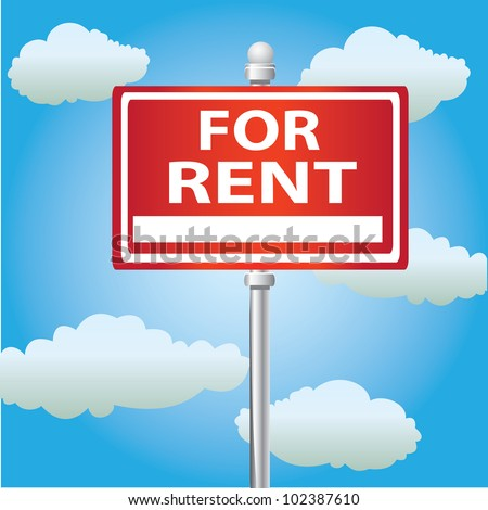 For rent signpost on sky background,Vector - stock vector