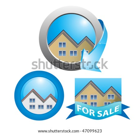 for sale house - stock vector