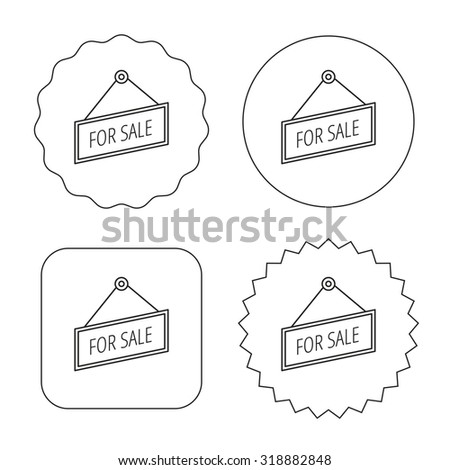 For sale icon. Advertising banner tag sign. Flat circle, star and emblem buttons. Labels design. Vector - stock vector