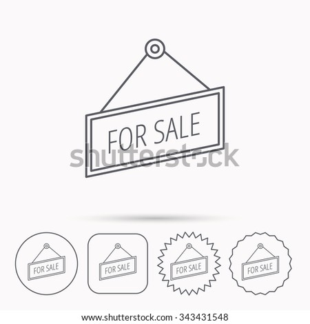 For sale icon. Advertising banner tag sign. Linear circle, square and star buttons with icons. - stock vector