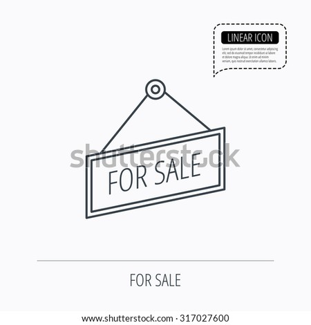 For sale icon. Advertising banner tag sign. Linear outline icon. Speech bubble of dotted line. Vector - stock vector