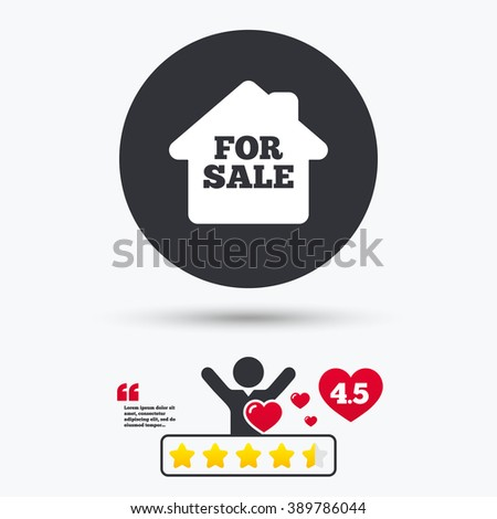 For sale icon. For sale flat symbol. For sale art illustration. For sale flat sign. For sale graphic icon. Star vote ranking. Client or customer like. Quotes with message. - stock vector