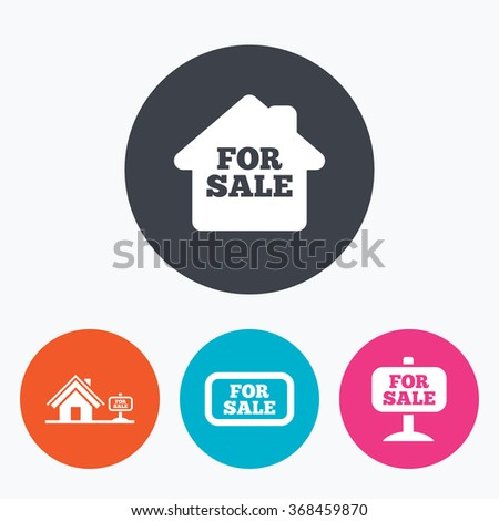 For sale icons. Real estate selling signs. Home house symbol. Circle flat buttons with icon. - stock vector