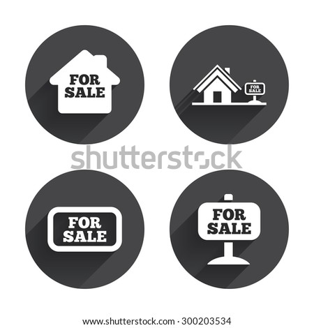 For sale icons. Real estate selling signs. Home house symbol. Circles buttons with long flat shadow. Vector - stock vector