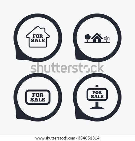 For sale icons. Real estate selling signs. Home house symbol. Flat icon pointers. - stock vector