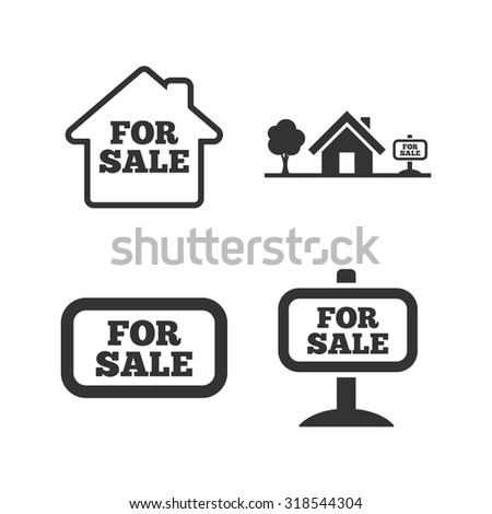 For sale icons. Real estate selling signs. Home house symbol. Flat icons on white. Vector - stock vector