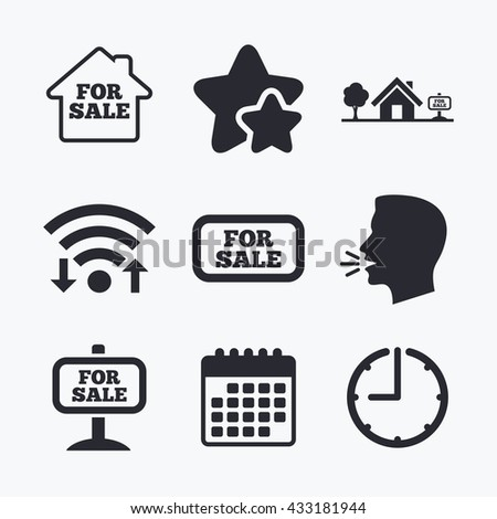 For sale icons. Real estate selling signs. Home house symbol. Wifi internet, favorite stars, calendar and clock. Talking head. Vector - stock vector
