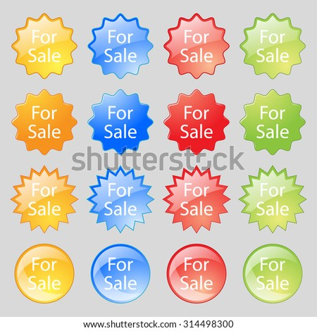 For sale sign icon. Real estate selling. Big set of 16 colorful modern buttons for your design. Vector illustration