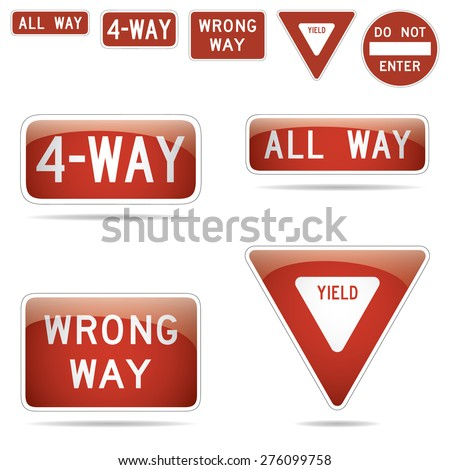 For way all way wrong way yield traffic signs vector illustration - stock vector
