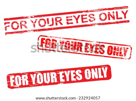 For your eyes only vector rubber stamp illustrations