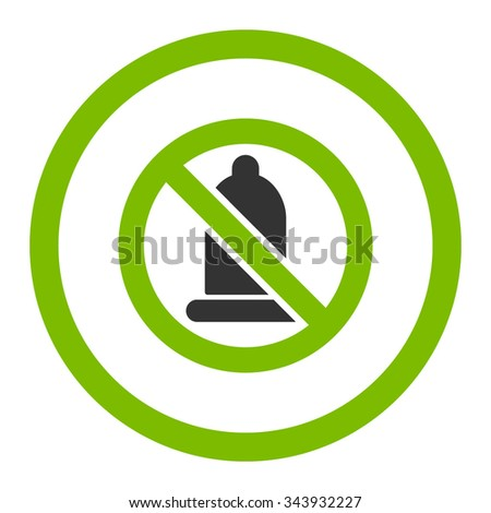 Forbidden Condom vector icon. Style is bicolor flat rounded symbol, eco green and gray colors, rounded angles, white background.