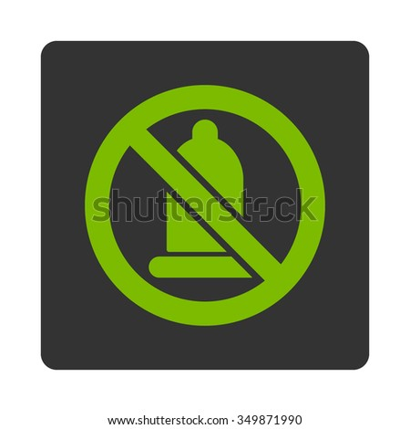 Forbidden Condom vector icon. Style is flat rounded square button, eco green and gray colors, white background.