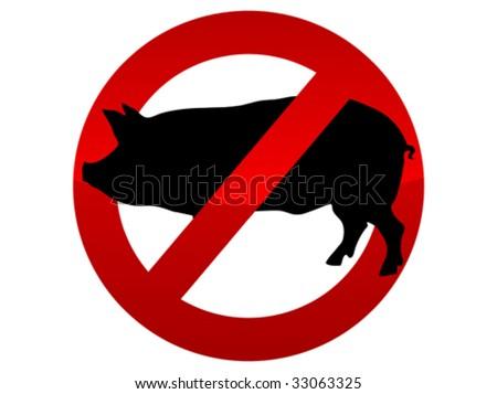 Forbidden icon swine flu virus vector illustration - stock vector