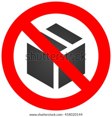 Forbidden sign with cube icon isolated on white background. Using box is prohibited vector illustration. Box is not allowed image. Boxes are banned.