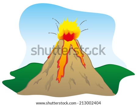 Force of Nature a volcano erupting  - stock vector