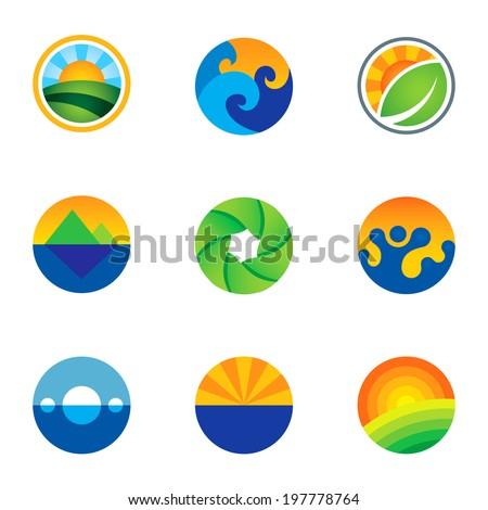 Force of nature beautiful circle landscape background logo icons set - stock vector