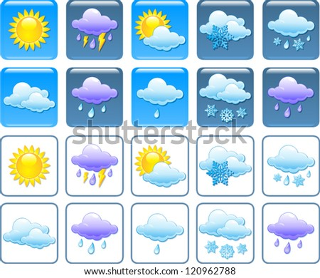 Forecast weather squared icon set - stock vector