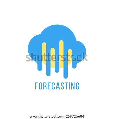 forecasting with sun and melted cloud. concept of daily forecast, company brand, tv program, weather today. isolated on white background. flat style trendy modern branding design vector illustration - stock vector
