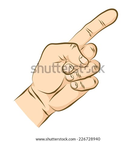 Forefinger. Pointing gesture. Digit one gesture. Pointing hand. - stock vector