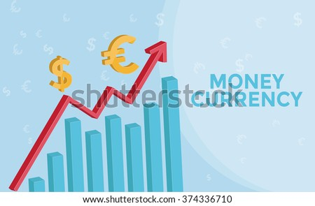 Foreign Exchange Market info graphic with  3d arrow , euro symbol, us dollar symbol. Forex   business concept and Money Currency. Vector illustration.  - stock vector