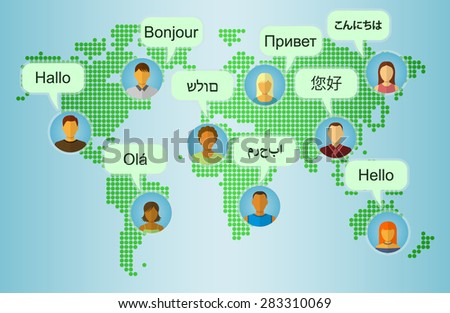 Foreign languages greeting set people icons stock vector 283310069 foreign languages greeting set of people icons on earth map background with speech bubbles m4hsunfo Choice Image