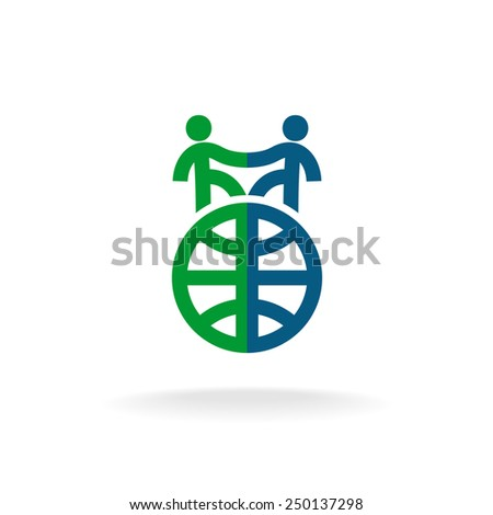 Foreign languages school logo template. Two people handshake on  - stock vector