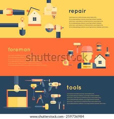 Foreman repair tools service construction home flat banner set isolated vector illustration - stock vector