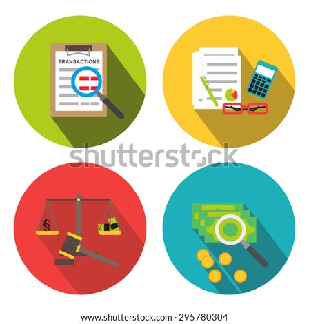 Forensic audit and financial investigation icons isolated - stock vector