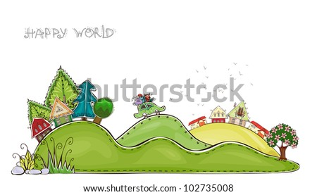 "Forest and farm on the hills ""Happy world"" collection - stock vector"
