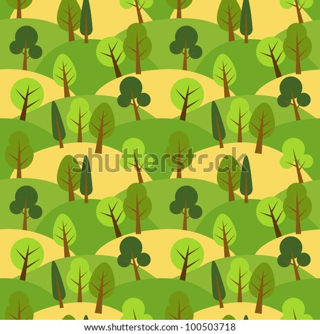 Forest and hills seamless pattern - stock vector