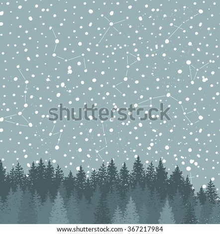 Forest and Night sky with stars vector background. Space backdrop.