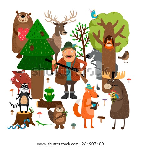 Forest animals and hunter. Squirrel and raccoon, wolf and frog, fox and stump. Vector illustration - stock vector
