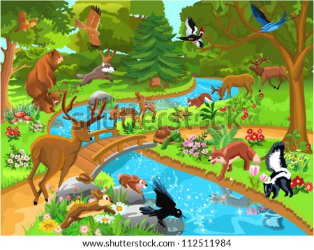 forest animals coming to drink water - stock vector