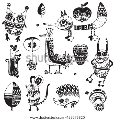 Forest animals decorated with a pattern.