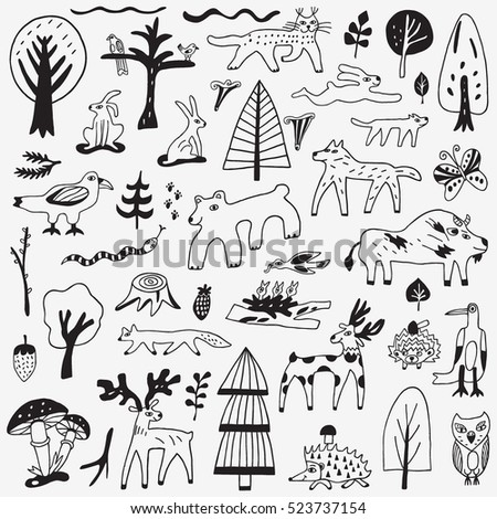 forest animals doodles