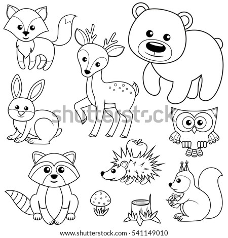 coloring book illustration forest animals fox bear raccon hare deer owl hedgehog - Baby Forest Animals Coloring Pages