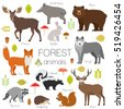 forest animals isolated vector...