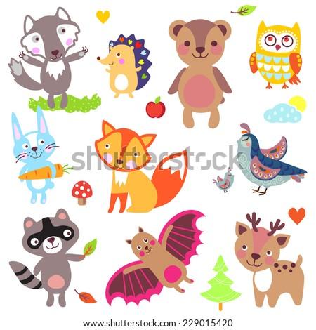 Forest animals set. Wolf, hedgehog, bear, owl, rabbit, fox, partridge, quail, raccoon, bat, deer - stock vector