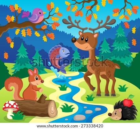 Forest animals topic image 1 - eps10 vector illustration. - stock vector