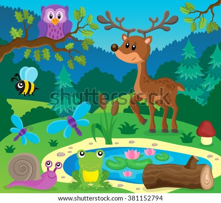 Forest animals topic image 9 - eps10 vector illustration. - stock vector