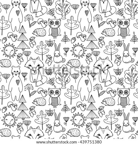 Forest animals, trees, leaves, flowers, mushrooms set. Doodle style seamless pattern. Bear, fox, owl, hedgehog illustration background.