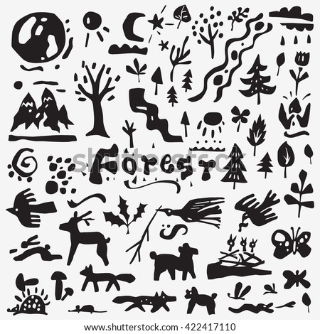 Forest , animals - vector  icons .