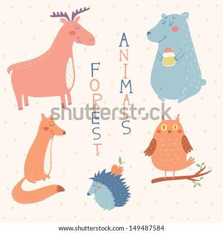 Forest animals vector set - stock vector